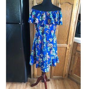 Merona Blue Floral Off Shoulder Dress Size Large